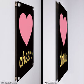 "Cheerleading 18"" X 12"" Aluminum Room Sign - Heart With Gold"