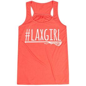 Girls Lacrosse Flowy Racerback Tank Top - #LAXGIRL