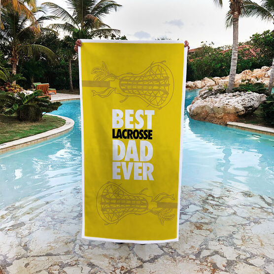 Girls Lacrosse Premium Beach Towel - Best Dad Ever