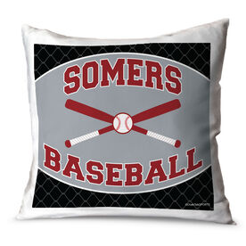 Baseball Throw Pillow Personalized Baseball Team With Crossed Bats