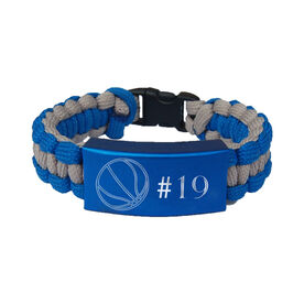 Basketball Paracord Engraved Bracelet - Basketball Ball With 1 Line/Blue