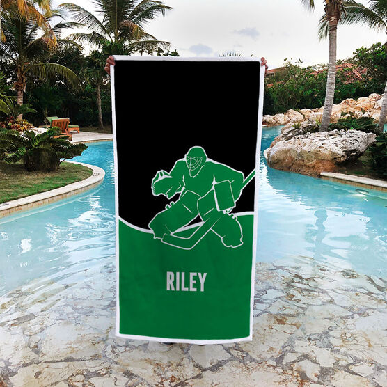 Hockey Premium Beach Towel - Personalized Goalie with Team Colors