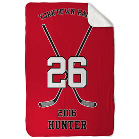 Hockey Sherpa Fleece Blanket - Personalized Team Crossed Sticks