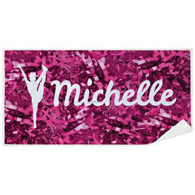 Cheerleading Premium Beach Towel - Personalized Silhouette with Pom Poms