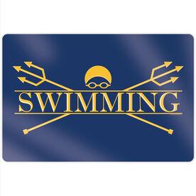 """Swimming 18"""" X 12"""" Aluminum Room Sign - Crest"""