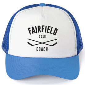 Hockey Trucker Hat - Team Name Coach With Curved Text