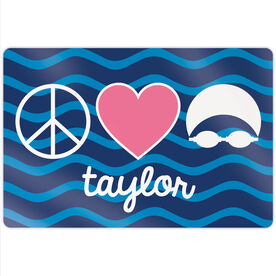 "Swimming 18"" X 12"" Aluminum Room Sign - Personalized Peace Love Swim"