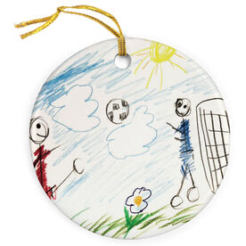 Soccer Porcelain Ornament Your Drawing