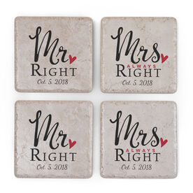 Personalized Stone Coasters Set of Four - Mr. Right & Mrs. Always Right