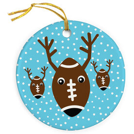 Football Porcelain Ornament Reindeer in the Snow