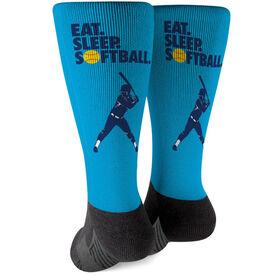 Softball Printed Mid-Calf Socks - Eat Sleep Softball
