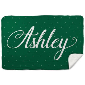 Sherpa Fleece Blanket - Scripted Name with Pattern