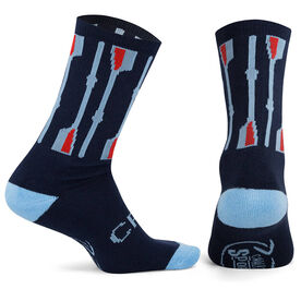 Crew Woven Mid Calf Socks - Vertical Oars (Navy/Light Blue/Red)