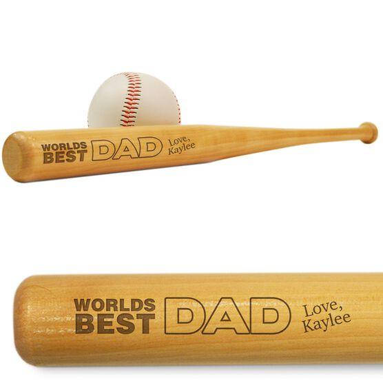 World's Best Dad Mini Engraved Baseball Bat