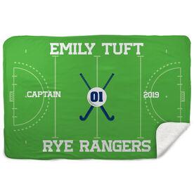 Field Hockey Sherpa Fleece Blanket - Personalized Field Hockey Captain