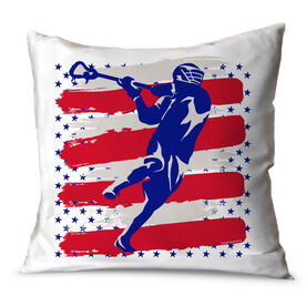 Guys Lacrosse Throw Pillow USA Laxer