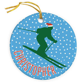 Skiing Porcelain Ornament Ski Silhouette With Santa Hat