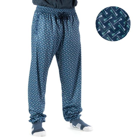 Guys Lacrosse Lounge Pants - Lacrosse Stick Herringbone (Green)