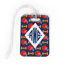 Football Bag/Luggage Tag - Personalized Football Pattern Monogram