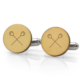 Guys Lacrosse Engraved Wood Cufflinks Goalie Sticks