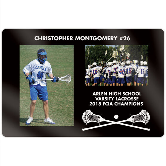 """Guys Lacrosse 18"""" X 12"""" Aluminum Room Sign - Player and Team Photo"""
