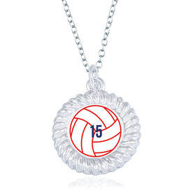 Volleyball Braided Circle Necklace - Ball With Number
