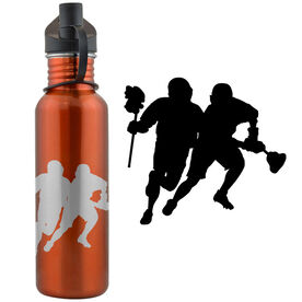 2 Guys Playing Lacrosse (M) 24 oz Stainless Steel Water Bottle