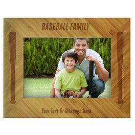 Baseball Bamboo Engraved Picture Frame Baseball Family