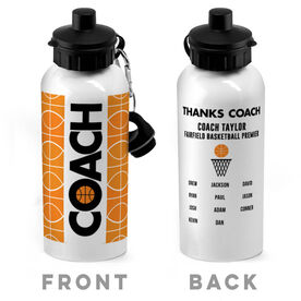 Basketball 20 oz. Stainless Steel Water Bottle - Coach With Roster