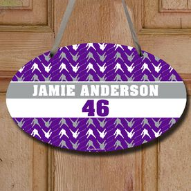 Hockey Oval Sign Personalized Hockey Player Pattern