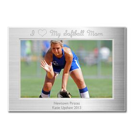 Engraved Softball Frame Silver 4 x 6 with I Heart My Softball Mom