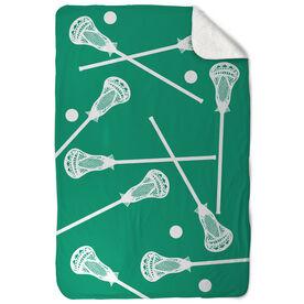 Guys Lacrosse Sherpa Fleece Blanket Lacrosse Sticks Pattern