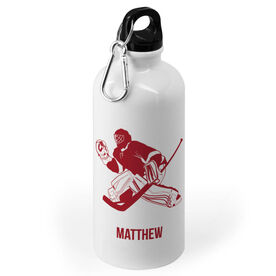Hockey 20 oz. Stainless Steel Water Bottle - Hockey Goalie Silhouette
