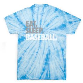 Baseball Short Sleeve T-Shirt - Eat Sleep Baseball Bold Text Tie Dye