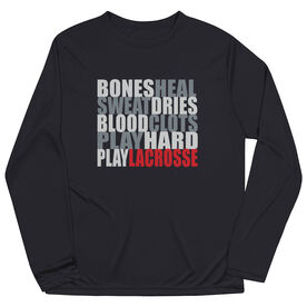 Guys Lacrosse Long Sleeve Performance Tee - Bones Saying