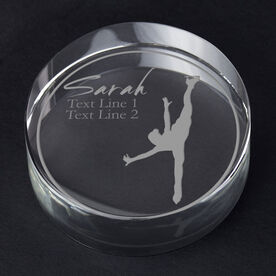 Figure Skating Personalized Engraved Crystal Gift - Personalized Silhouette (Spin)