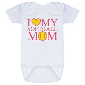Softball Baby One-Piece - I Love My Softball Mom