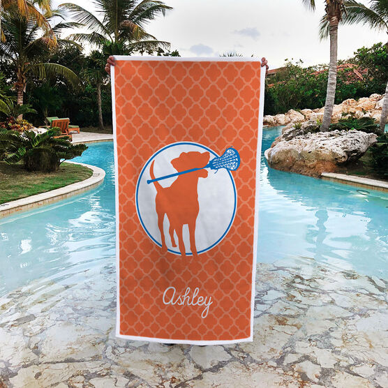 Girls Lacrosse Premium Beach Towel - Personalized Dog with Stick