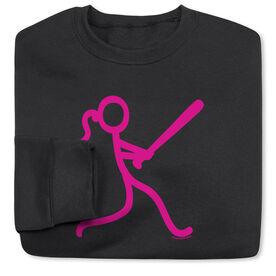 Softball Crew Neck Sweatshirt - Neon Stick Figure Girl (SB)