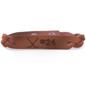 Hockey Leather Engraved Bracelet Crossed Sticks with Number