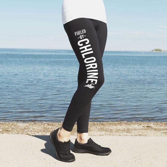 Swimming High Print Leggings - Fueled By Chlorine