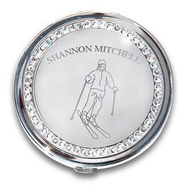 Skiing Silver Compact Mirror Personalized