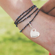 Cheerleading Beaded Wrap Bracelet with Cheer Sport Heart Charm