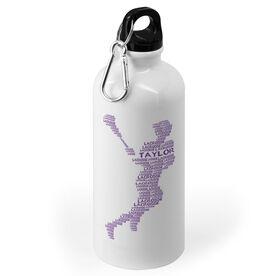 Girls Lacrosse 20 oz. Stainless Steel Water Bottle - Personalized Lacrosse Words Girl