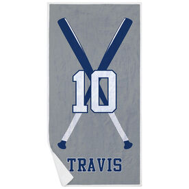 Baseball Premium Beach Towel - Personalized Player with Crossed Bats