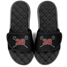 Guys Lacrosse PR SOLES® Adjustable Strap Recovery Slide Sandals - Crossed Sticks with Number