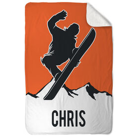 Snowboarding Sherpa Fleece Blanket - Personalized Airborne