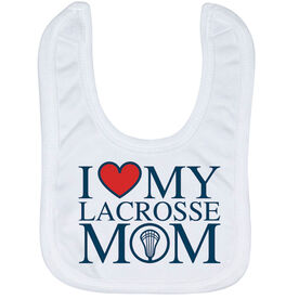 Guys Lacrosse Baby Bib - I Love My Lacrosse Mom