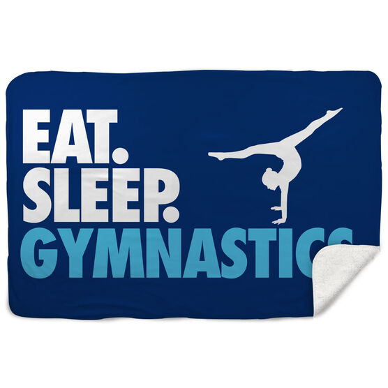 Gymnastics Sherpa Fleece Blanket - Eat. Sleep. Gymnastics. Horizontal