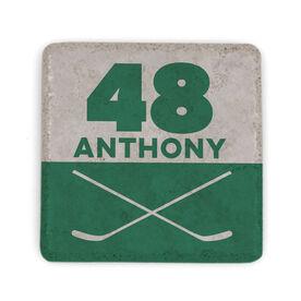 Hockey Stone Coaster - Personalized Hockey Crossed Sticks